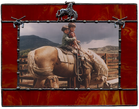 Brown Buckin' Bronco & Six-Shooters Western Picture Frame