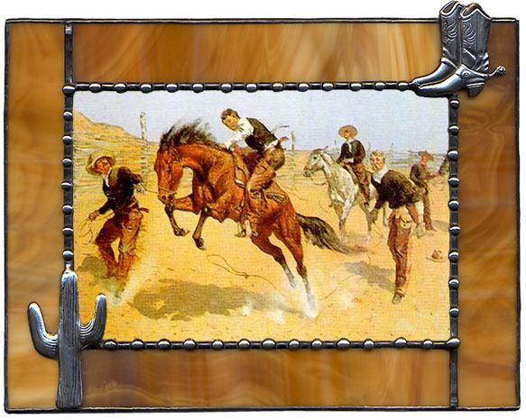 Brown Cowboy Boots & Cactus Western Picture Frame